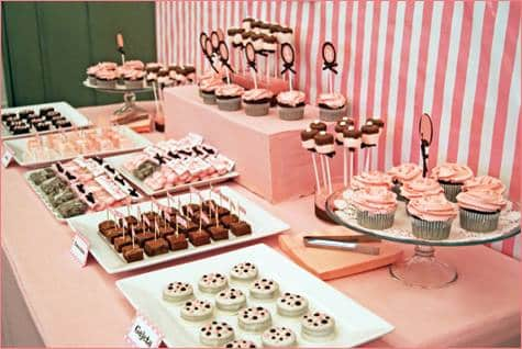 Dessert Bar: Pink Wedding Cake Or Dessert: Dessert Bar