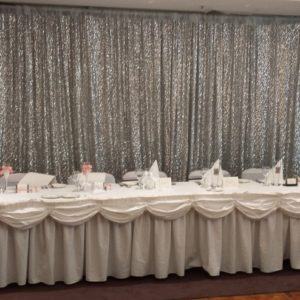 Silver Sequin Backdrop Candelabra