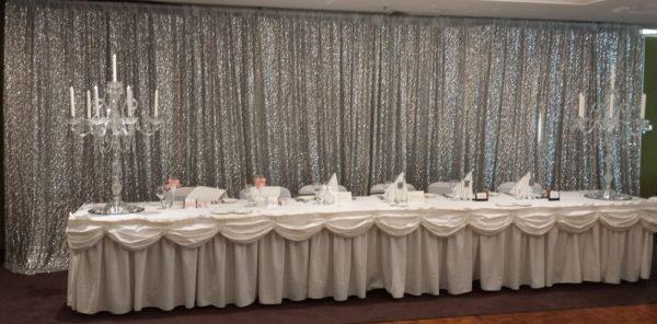 Silver Sequin Backdrop Candelabra