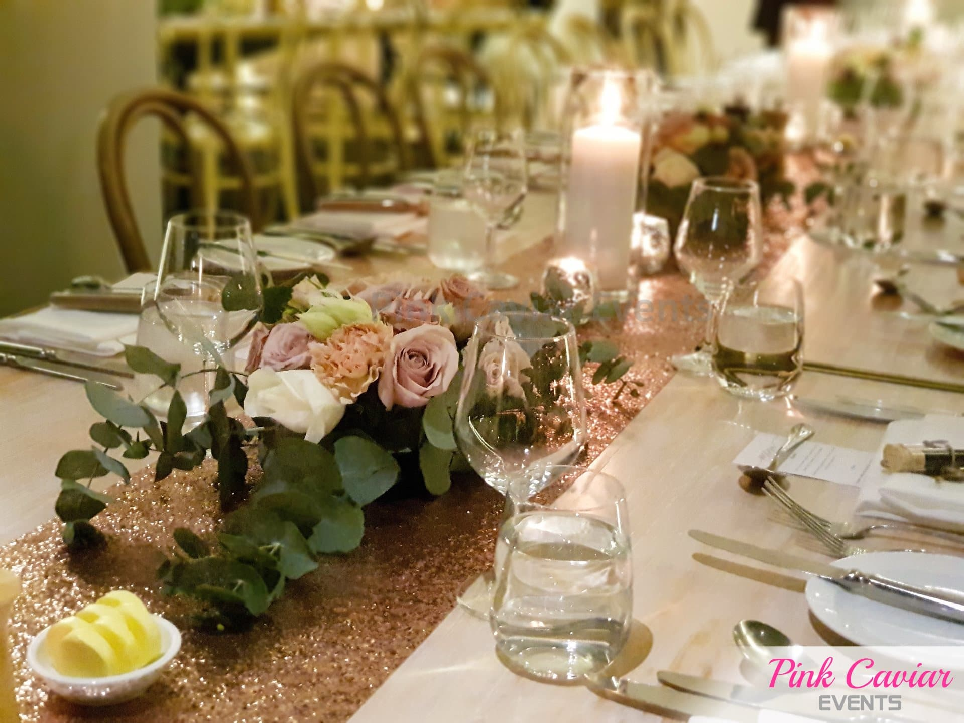 rose gold sequin wedding decoration candle flower centrepiece Wedding & Event Styling