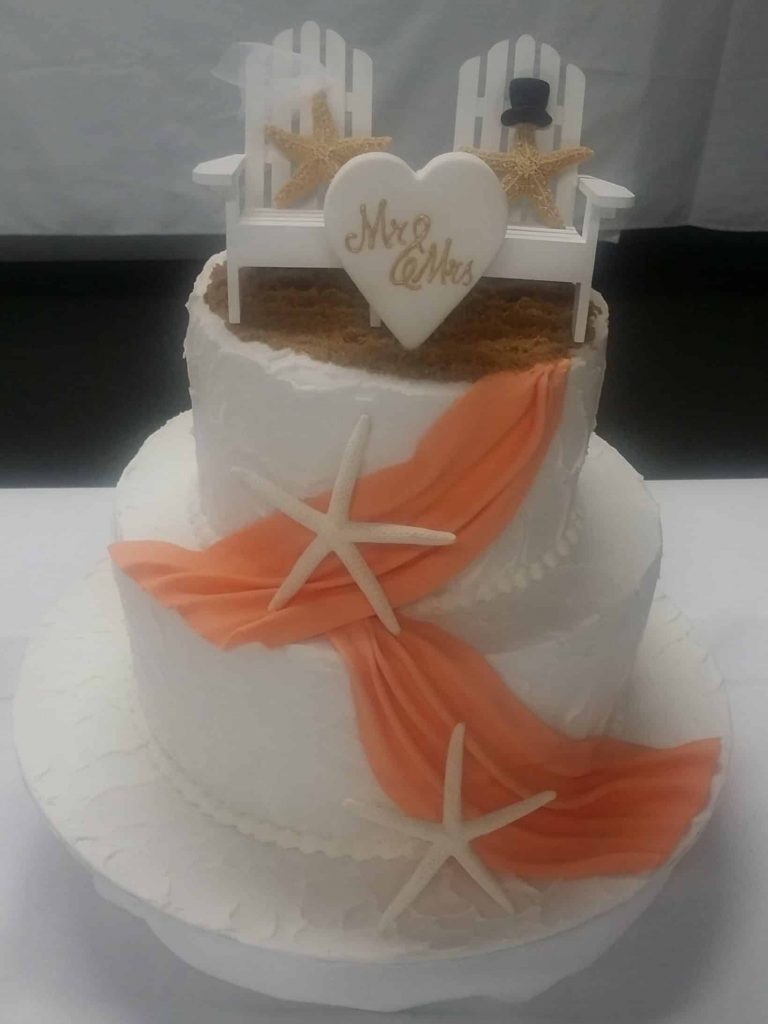 Beach Themed Wedding Cake Greg Sabrina Star Fish Orange Ribbon