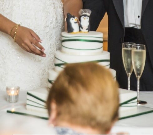 Cutting the cake guest in the way Smart Phones & Social Media on your Wedding Day