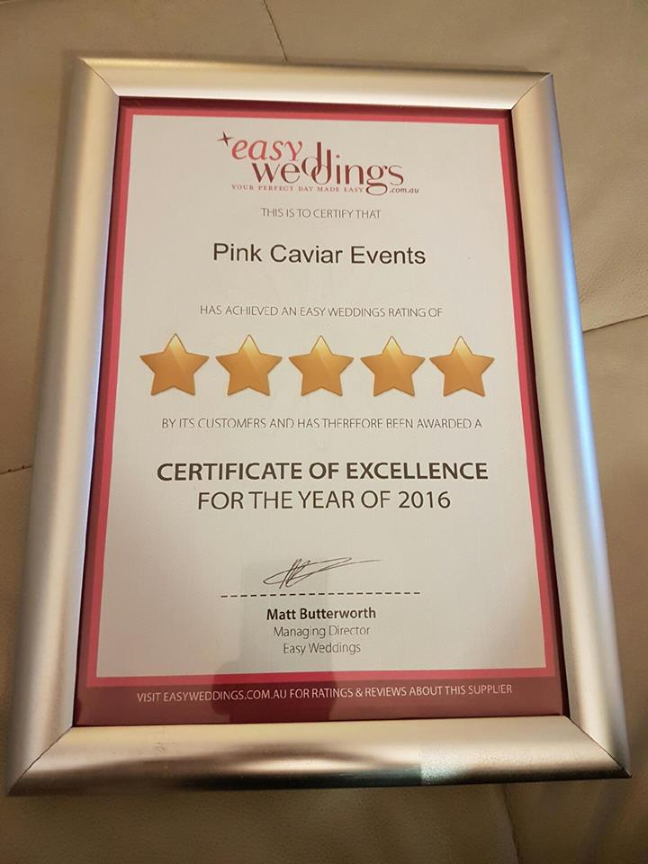 Certificate of Excellence - Easy Weddings 5 Star Certificate of Excellence 2016 - Pink Caviar Events