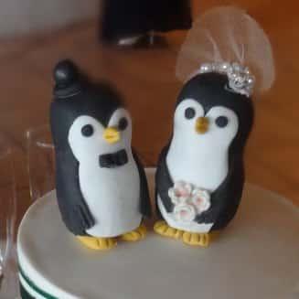 Cute animal cake topper Mr Mrs Penguin