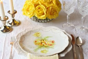 Traditional Wedding Anniversary Gift China Plates Cutlery 20th Year
