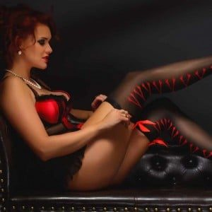 Woman Wearing Sexy Silk Lingerie Black Red and stockings and high heels Wedding Anniversary Gift Idea
