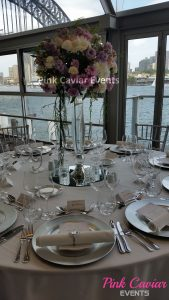 Flower Ball on glass Vase with Charger Plates circular mirrors base water backdrop WM CHECKED