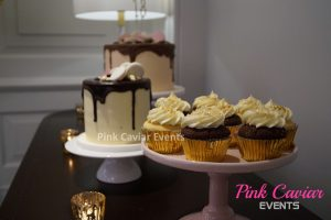 Various Deserts Gold Pink Brown Cupcakes Cakes Macaroons Buffet Gold Tealight Candles WM