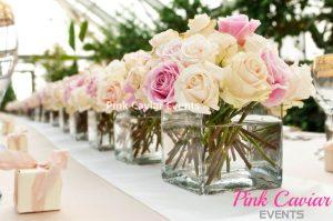 Champagne Ivory Blush Rose Wedding Centrepiece WM CHECKED