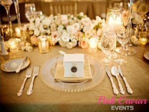 Clear Plates with low florals and candles WM TO BE REPLACED