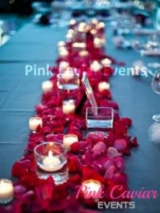 Red rose petals with candles WM TO BE REPLACED