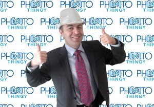 Open Air Photo Booth Photo Thingy Green Screen Corporate Man Silver Hat Corporate Photo Booths