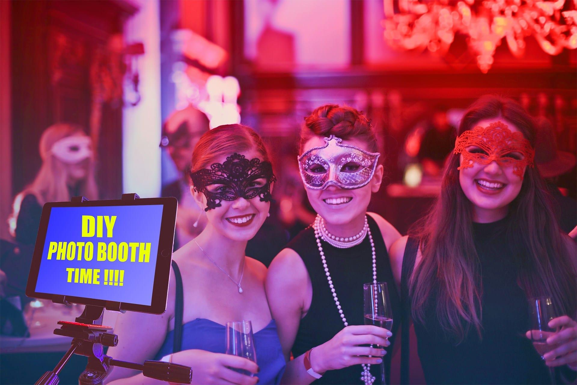 DIY Photo Booth iPad Tablet Cheap Tripod 3 women masqurage Party