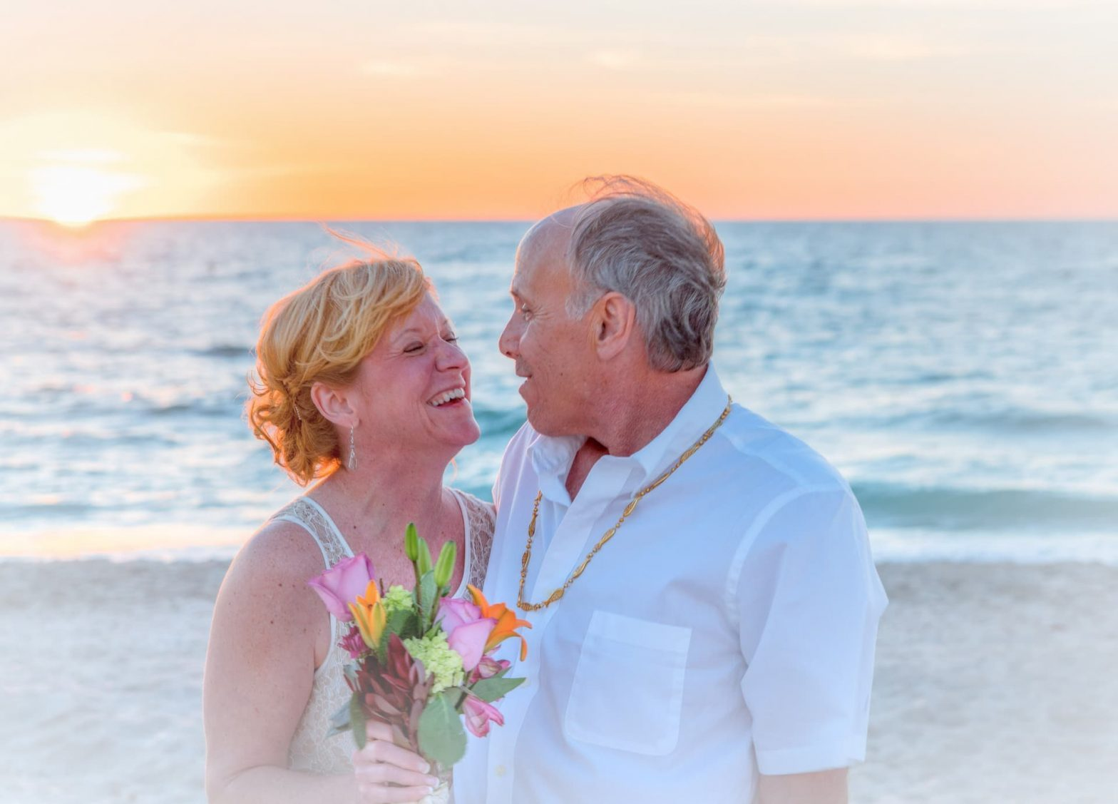 Never Too Late To Get Married: Beach Wedding Mature Couple
