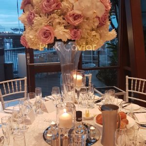 tall flower candle centrepiece wedding