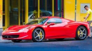 Traditional Wedding Transport: Red Ferrari Sports Car