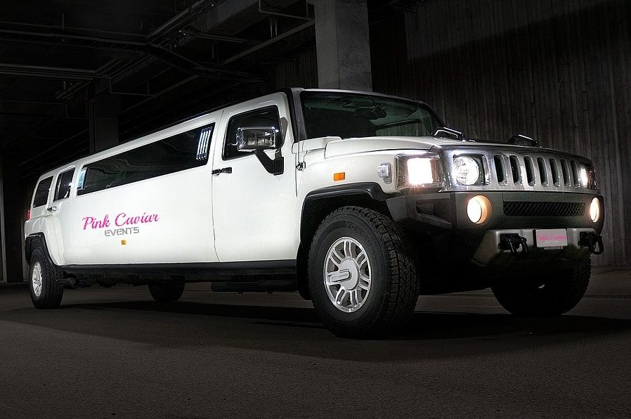 Types Of Wedding Transport: White Hummer Limousine