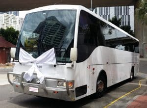 Group Wedding Transport Tips: White Wedding Coach