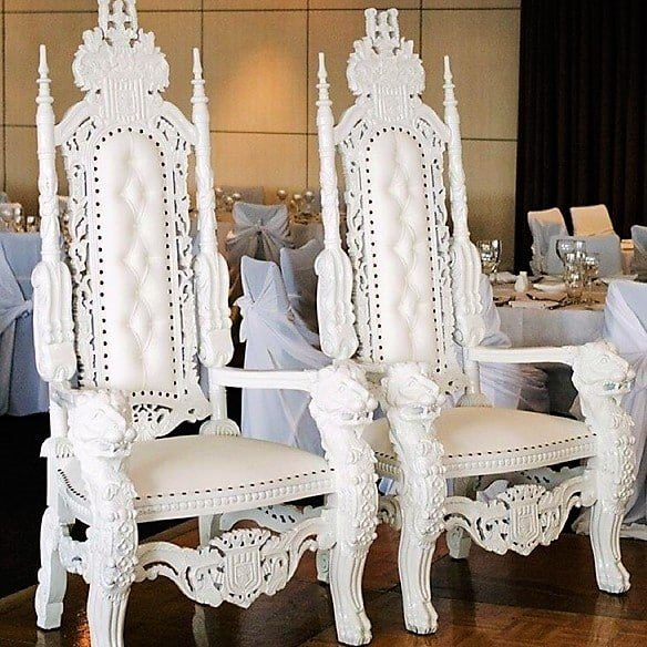 Bridal Thrones - Wedding Thrones - White Thrones - Elegant Regal Throne Lion Heads
