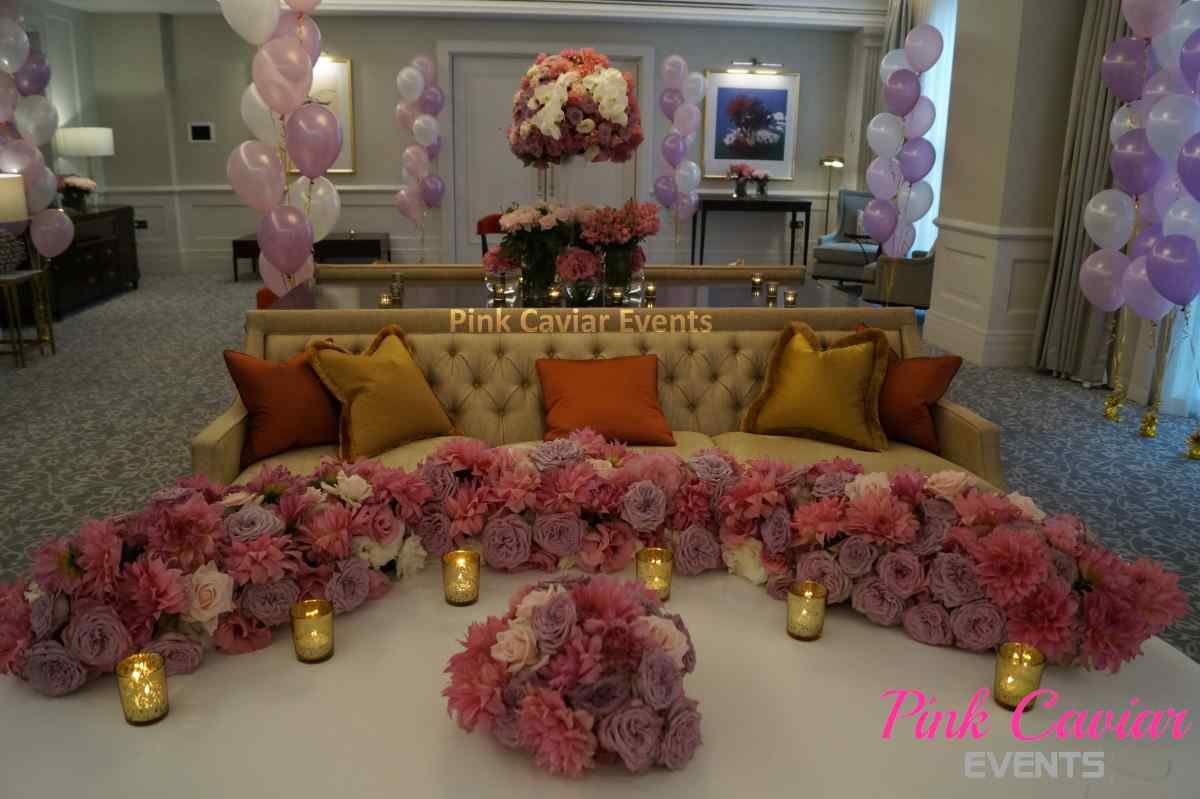 Wedding Stylist Versus Hire Company: Private Styled Event Pink Flowers Balloons Candles Elegant Seasonal Blooms