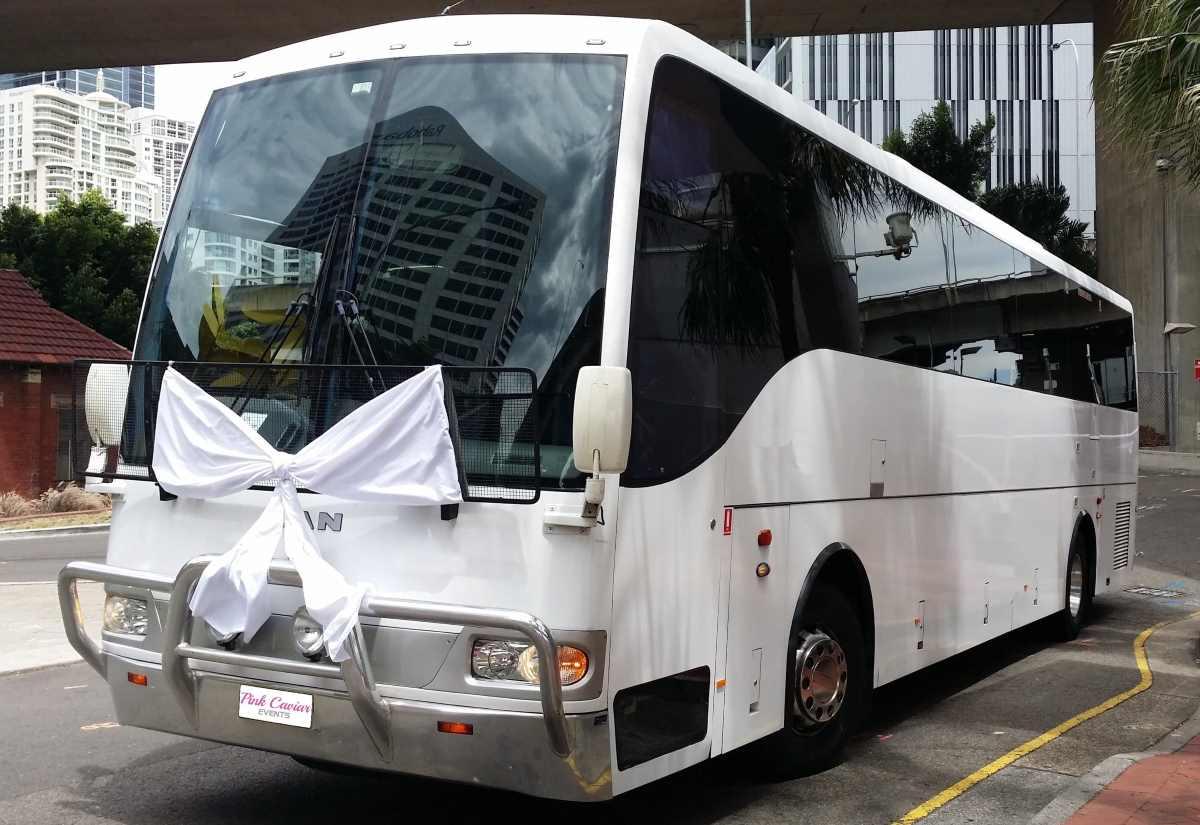 Group Wedding Transport Tips: White Wedding Coach White Bow