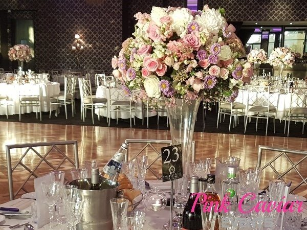 Centrepieces Pink Caviar Events Roses Pink White Purple Elegant Beautiful Tall Floral
