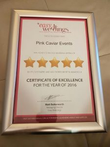 Easy Weddings 5 Star Certificate of Excellence 2016 - Pink Caviar Events