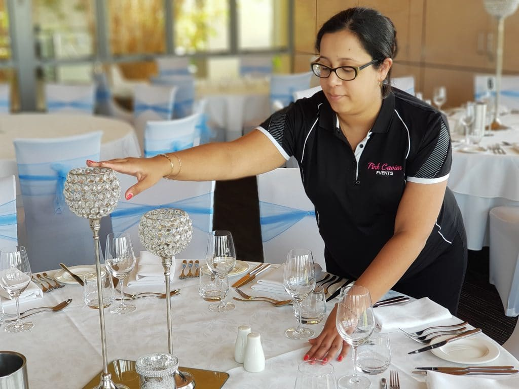 Christening Event Coordinator Set Up Crystal Goblets