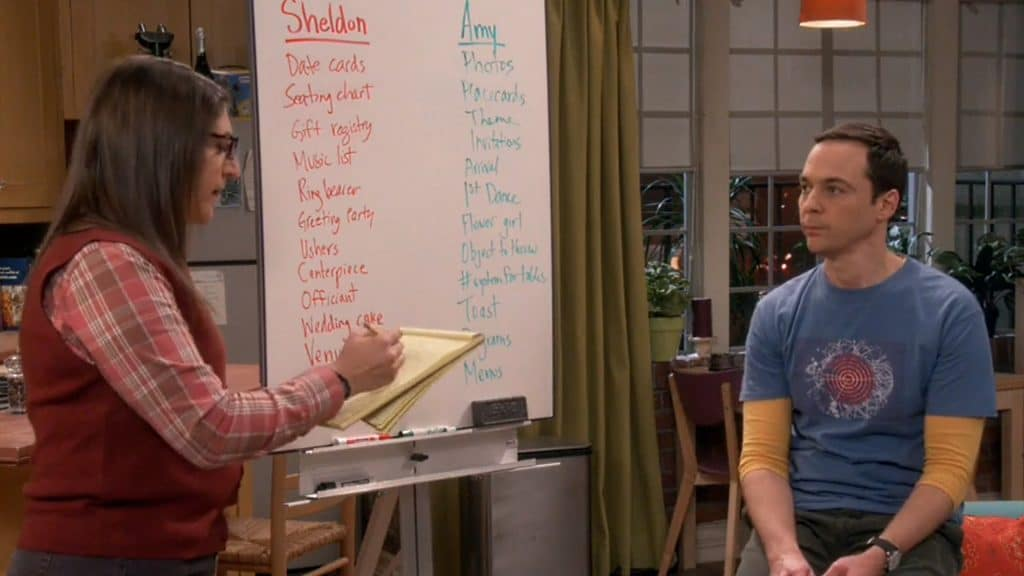 The Big Bang Theory: Amy And Sheldon Deciding On Wedding Tasks