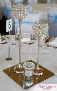 crystal goblets silver candle mirror centrepiece WM CHECKED