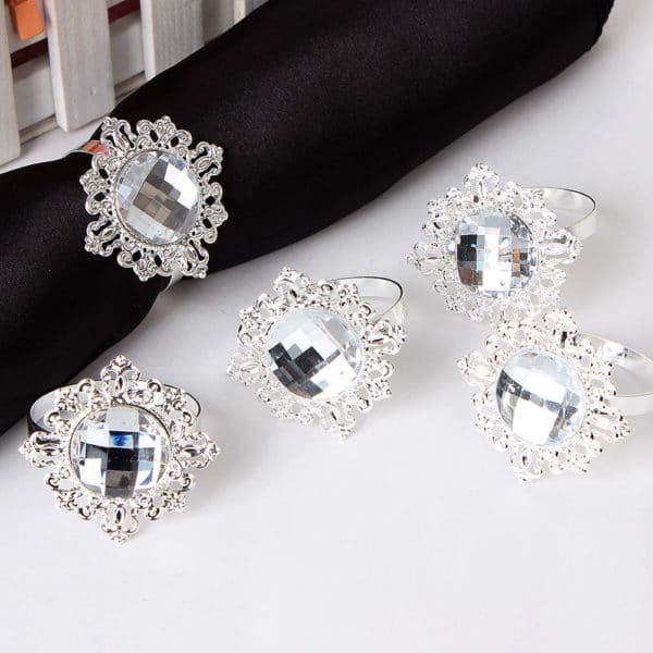 Diamond Napkin Rings - Silver