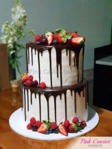 engagement cake chocolate strawberry rustic WM