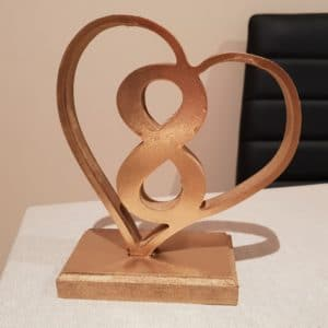 Gold Heart Table Number 8