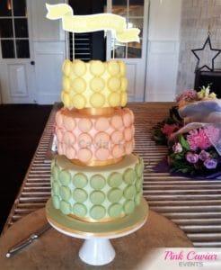 macaron cake 3 tier yellow pink green cocktail wedding WM