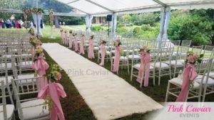 marquee wedding ceremony white carpet pink flowers arch WM