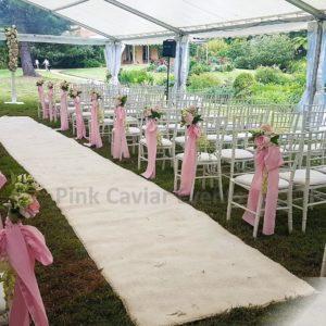 White & Pink Wedding Ceremony Marquee