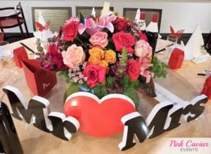 mr and mrs bridal table bright colourful flowers red heart WM