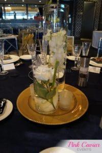 navy gold wedding centrepiece WM