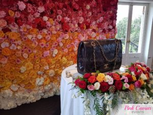 ombre flower wall chanel cake colourful flowers hedge WM