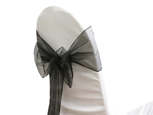 Organza Chair Sash - Black