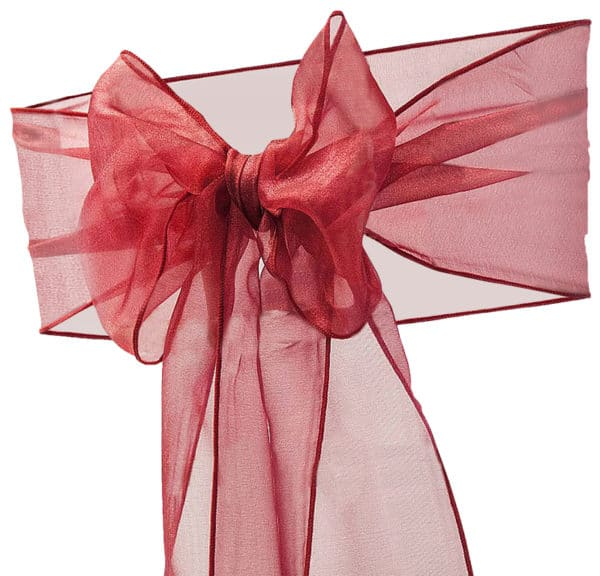 Organza Chair Sash - Burgundy Red Wine