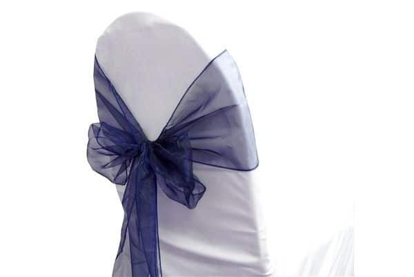 Organza Chair Sash - Navy Blue