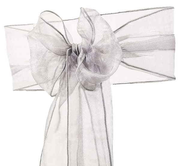 Organza Chair Sash - Silver