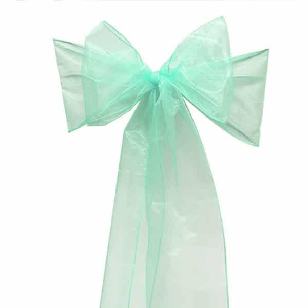 Organza Chair Sash - Tiffany Green
