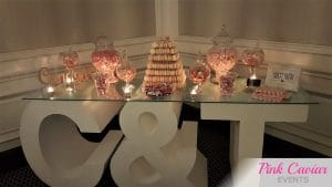 pink and white candy buffet wedding WM