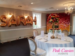 private event ombre flower wall chanel cake colourful flowers gold balloons WM