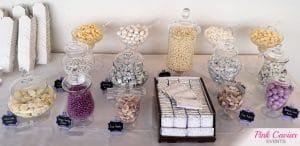 purple silver white candy buffet chocolate bars WM