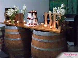 rustic barrel bar cake table engagement WM