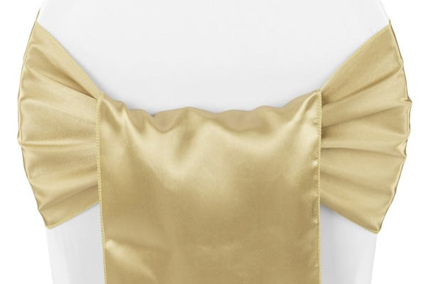 Satin Chair Sash - Gold