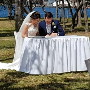 Signing Table with Linen Wedding Ceremony Hire